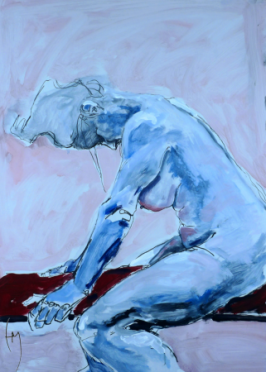 Life Drawing, Acrylic on Terraskin, 53x51cm
